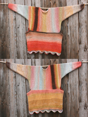 both sides shown in diptych Sunlight inspired scalloped hem sweater reversible dress hung on wood pole on side of woodshed, purl side out, knit by Wrapture by Inese