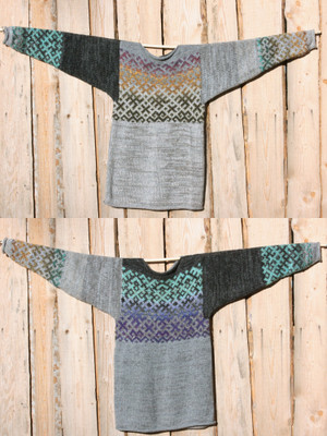 view of both sides of reversible Heather Grey Latvian symbols sweater size L Wrapture by Inese