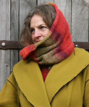 Rowan color way snood cowl worn by Inese Iris Liepina the knitter and designer for Wrapture by Inese.