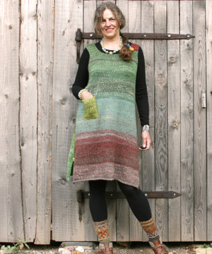 Willow A-line sarafon dress as modeled by Inese Iris Liepina who knit it for Wrapture