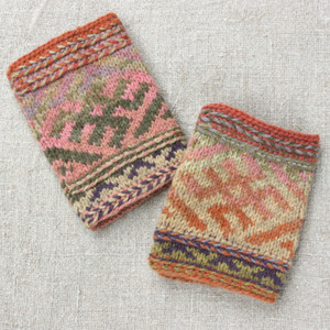 Life symbol boot toppers in Meadow Grass color way hand knit by Inese iris Liepina