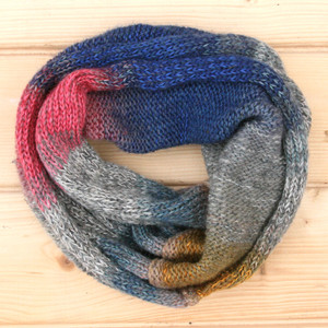 Yak & Pony color way cowl knit with local wool, cotton kid mohair and silk by Wrapture by Inese