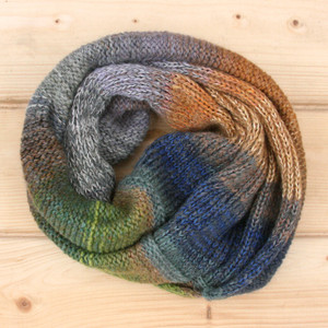 Pond Leaves color way cowl knit with local wool, cotton kid mohair and silk by Wrapture by Inese