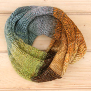 Autumn Branch color way cowl knit with local wool, cotton kid mohair and silk by Wrapture by Inese