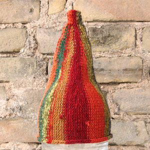 Autumn kids or XS adult striped pixie gnome hat knit with wool, kid mohair, silk, cotton, prewashed, Wrapture by Inese