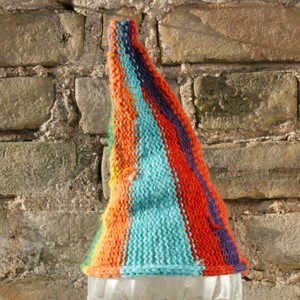 Big Top baby 1-3 years striped pixie gnome hat knit with wool, kid mohair, silk, cotton, prewashed, Wrapture by Inese