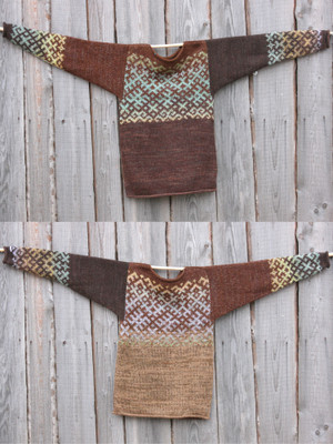 view of both sides of reversible unisex Chocolate Brown inspired Latvian symbols sweater size M hung on woodshed wall, knit by Inese Iris Liepina