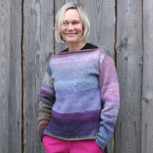 Size S light weight boatneck tunic inspired by my Plum color card as modeled by Kristine for Wrapture by Inese