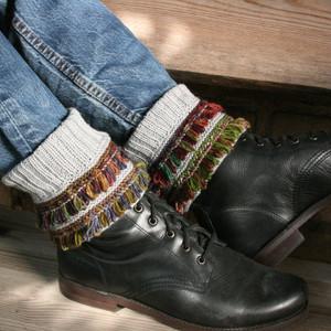 Jumis boot cuffs pattern by Inese Iris Liepina for Urth Yarns