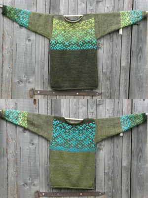 Forest Stream Latvian symbols sweater flat on side of woodshed size L showing both sides of the same sweater in a double photograph