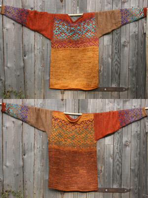 Spice XL reversible Latvian symbols sweater in double photo hung flat on a wooden wall showing both sides, knit by Wrapture by Inese