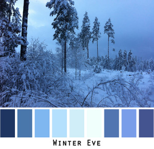Winter Eve - deep violet blue teal indigo navy white snow covered woods , colors for blue eyes, blonde black, grey hair, redheads, photo by Inese Iris Liepina, Wrapture by Inese