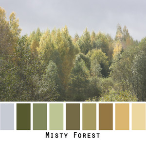 Misty Forest - green olive chartreuse, sage, tobacco grey gold trees in a forest colors for  green eyes, brown eyes,  brunette, redhead - photo by Inese Iris Liepina, Wrapture by Inese