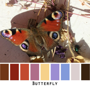 Butterfly - rust orange black blue violet pale yellow butterfly colors for blue eyes, green eyes, brown eyes, blonde hair, brunette, redhead, black hair, gray hair - photo by Inese Iris Liepina, Wrapture by Inese