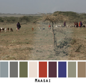 Maasai - grey gray taupe ivory sage green with bright rust red inky blue raisin purple maroon colors for blue eyes, green eyes, brown eyes, blonde hair, brunette, redhead, black hair, gray hair - photo by Inese Iris Liepina, Wrapture by Inese
