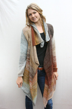 Winter Woods Annie, Cardigan coat long length knit Wrapture by Inese tan, brown, gray, taupe