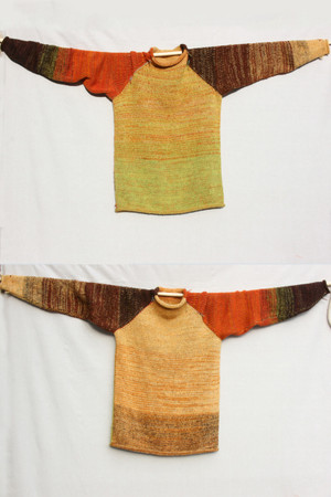 Autumn Gold raglan pullover sweater Wrapture by Inese Iris Liepina,  gold orange rust chartreuse green brown autumn colors, local Baltic wool, kid mohair, silk ,cotton, knitted unique one of a kind