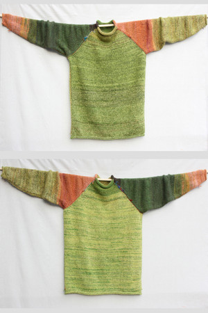 Maple raglan pullover sweater size L Wrapture by Inese Iris Liepina,  gold orange chartreuse green forest lime salmon pink coral  autumn colors, local Baltic wool, kid mohair, silk, cotton, knitted unique one of a kind