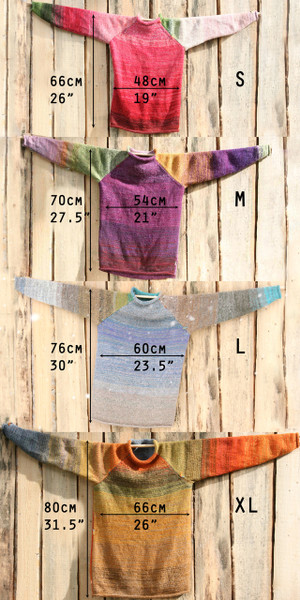Size Chart raglan pullover sweater Wrapture by Inese Iris Liepina,  unisex mens and womens, with measurements so you can compare sizes