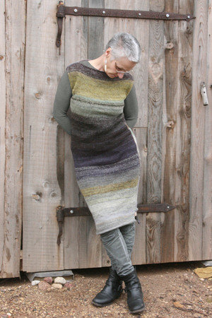 size S Grey Leaves colored random ombre stripe calf length tank dress as worn by model in front of woodshed.
