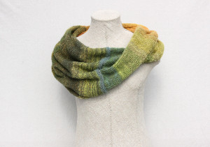 Tirelis mohair loop scarf Wrapture by Inese Iris Liepina green gold olive lime yellow