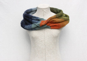 Tirelis Marsh knit mohair silk loop scarf Wraptuyre by Inese Iris Liepina green olive navy blue jade paprika orange gold blue