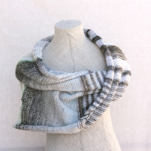Snow shawl wrap mohair cotton chunky knit Wrapture by Inese Iris Liepina white gray pale pastels blue silver ivory