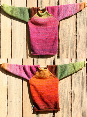 Echinacea pink orange lime green brown kids reversible unisex raglan pullover showing both sides in a double photograph where the sweater is hung on a wood shed, designed and knit by Wrapture by Inese