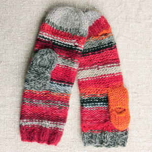 Fire Smart Phone Mittens mens red grey stripes thumbhole finger hole left handed or right handed hand knit Wrapture by Inese