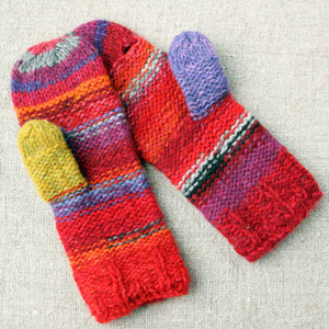 Gerbera hand knit Smart Phone Mittens red purple stripes thumbhole finger hole left handed or right handed hand knit Wrapture by Inese