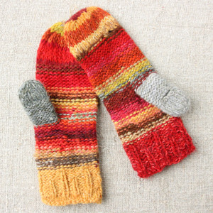Red Maple hand knit Smart Phone Mittens red gold brown stripes thumbhole finger hole left handed or right handed hand knit Wrapture by Inese