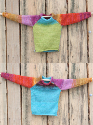 Butterfly Flower kids S 2yrs reversible raglan pullover showing both sides in a double photograph where the sweater is hung on a wood shed, designed and knit by Wrapture by Inese