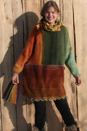 Oversized chunky knit sweater dress OS one of a kind wool kid mohair cotton silk hand crochet edge, Wrapture by Inese