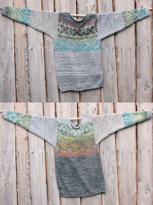 view of both sides of reversible heather Grey Forest Latvian symbols sweater size L Wrapture by Inese