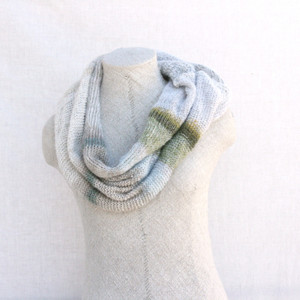 Snow loop scarf mohair silk knit by Wrapture by Inese white, silver sparkle, green, grey