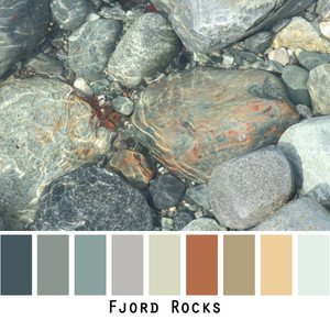 Fjord Rocks - grey rust ochre teal slate charcoal black- colors in a photo by Inese Iris Liepina made into a color card for custom ordering from Wrapture by Inese