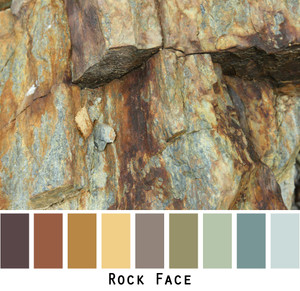 Rock Face - rust ochre gold brown teal grey- photo by Inese Iris Liepina, Wrapture by Inese