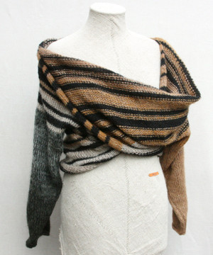 front view of Leopard inspired striped x-tee with draped x worn by mannikin knit by Wrapture by Inese