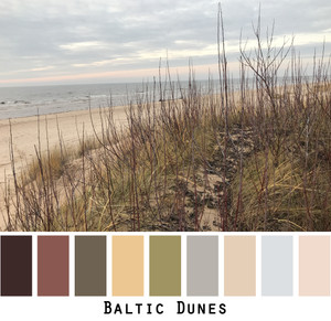 Baltic sea sand dunes in the gulf of Riga with dried autumn grasses in front of the sandy beach and slate blue sea. Just a sliver of sunset salmon. Photographed by Inese Iris Liepina and made into a color card for custom orders.