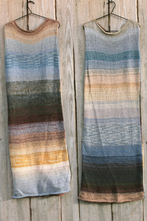 both sides in double photograph of size L Hoarfrost inspired random ombre stripe calf length tank dress on hanger hung on side of woodshed knit by Wrapture by Inese