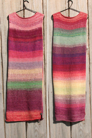 both sides shown in double photograph of size S Bitene in autumn inspired random ombre stripe calf length tank dress on hanger with woodshed background