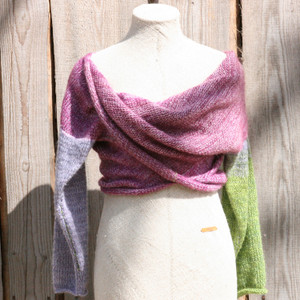 Lilac Buds lavender green x-tee on dress form in front of wood wall knit and designed by Inese for Wrapture
