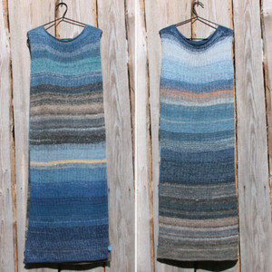 both sides in double photograph of size L Tuja Beach inspired random ombre stripe calf length tank dress on hanger hung on side of woodshed knit by Wrapture by Inese