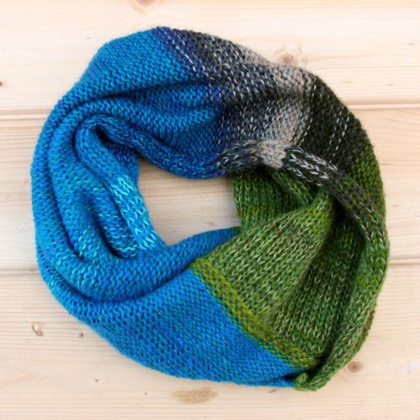 New Zealand color card inpired cowl knit with wool kid mohair silk and cotton by Wrapture by Inese