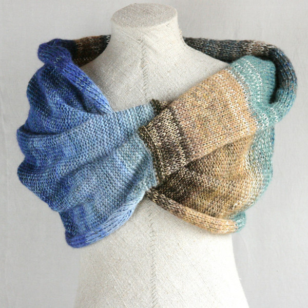 South island shawl wrap mohair, cotton, silk knit  Wrapture by Inese Iris Liepina blue seafoam green tan brown beige
