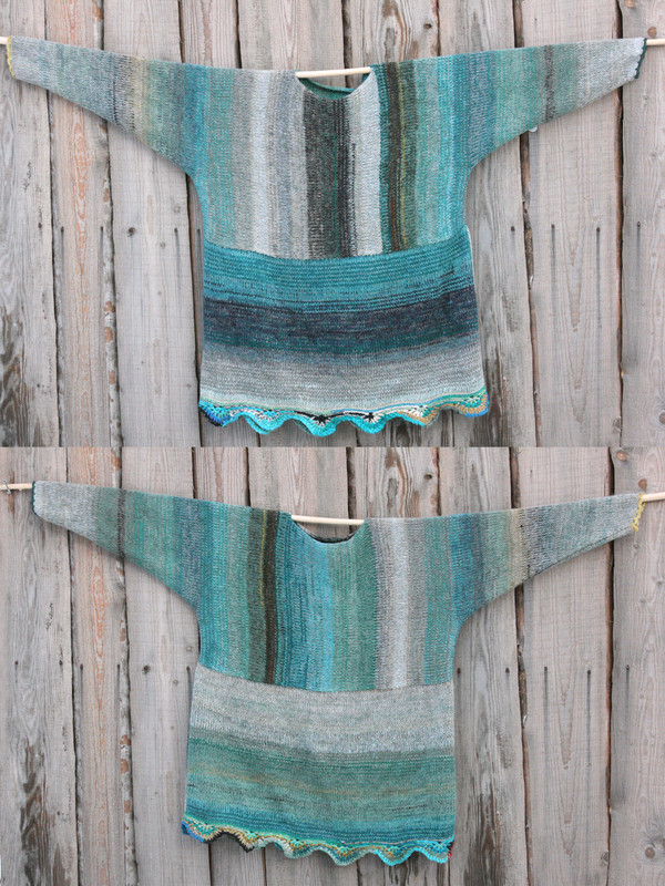 Fjord edge inspired scalloped hem reversible sweater dress knit side shown of both sides on wood wall Wrapture by Inese