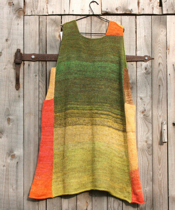 Apples inspired reversible trapeze dress knit by Inese iris Liepina for Wrapture by Inese