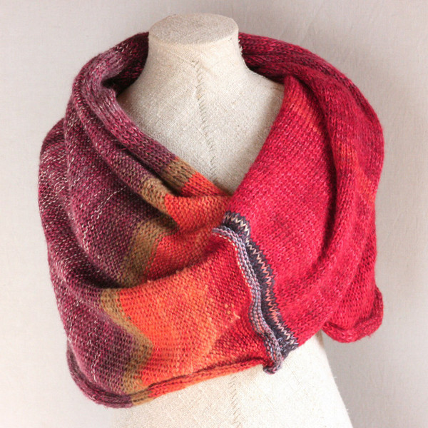Red Spray shawl wrap knit with cotton mohair silk hand blended yarns  Wrapture by Inese
