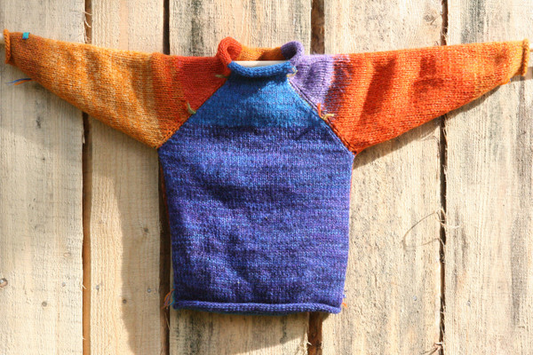 Shadow Play children's raglan sweater pre washed wool mohair cotton hand blended yarns Wrapture by Inese