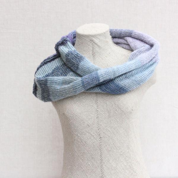 Moonshadow dusk mohair loop scarf Wrapture by Inese Iris Liepina pale blue lavender silver blue navy